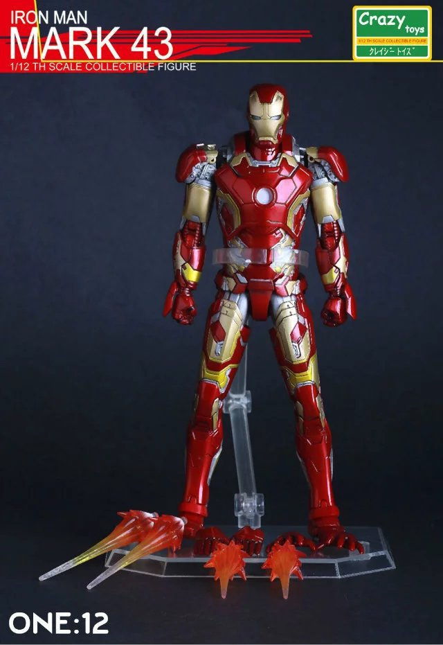 Crazy toys Iron Man MK43 Variant painted figure PVC Action Figure Collectible Model Toy 15cm KT3524 new hot christmas gift 21inch 52cm bearbrick be rbrick fashion toy pvc action figure collectible model toy decoration