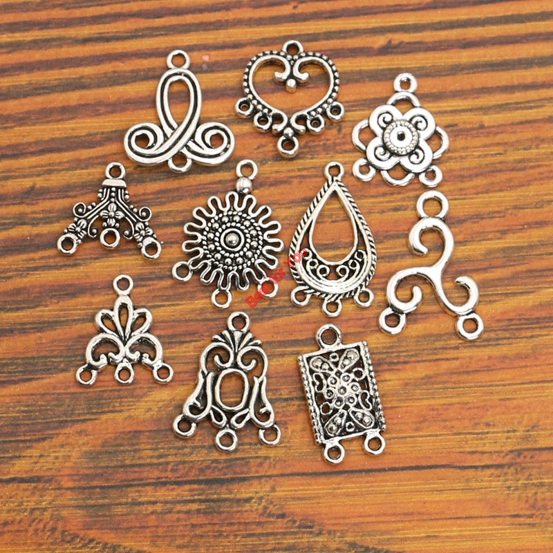 Bracelets For Charms: 10pcs Mixed Antique Silver Plated Connector Charms