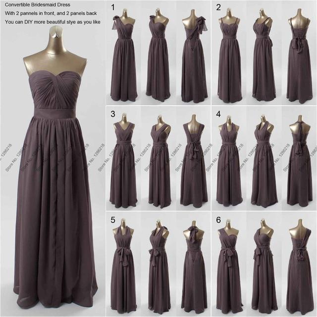Elegant New Dark Gray Long DIY Convertible Bridesmaid Dresses Formal ...