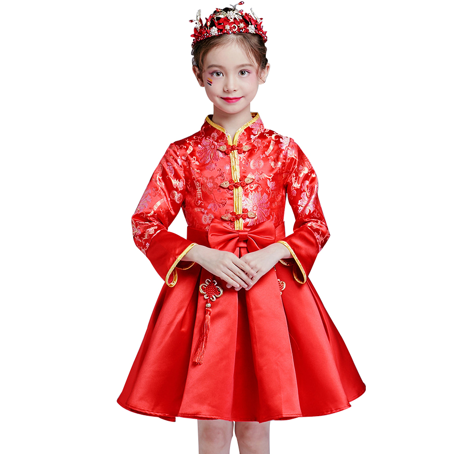 Top quality Girl Red cheongsam Clothes Kids Children Chinese Style Long sleeve Lace Wedding Party Dress Full dress new year toddler girl dresses chinese new year lace embroidery flowers long sleeve baby girl clothes a line red dress for party spring