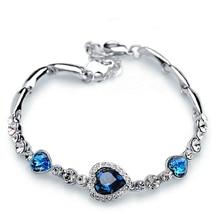 Stylish Women New Fashion Ocean Blue Sliver Plated Crysta Imitation Rhinestone Heart Charm Bracelet Bangle Gift Jewelry