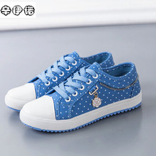 2017 Limited Womens Shoes Shallow Mouth Blue Dot Women Canvas Shoes New Arrival Solid Color Lace-up Chaussure Femme Shoe Woman