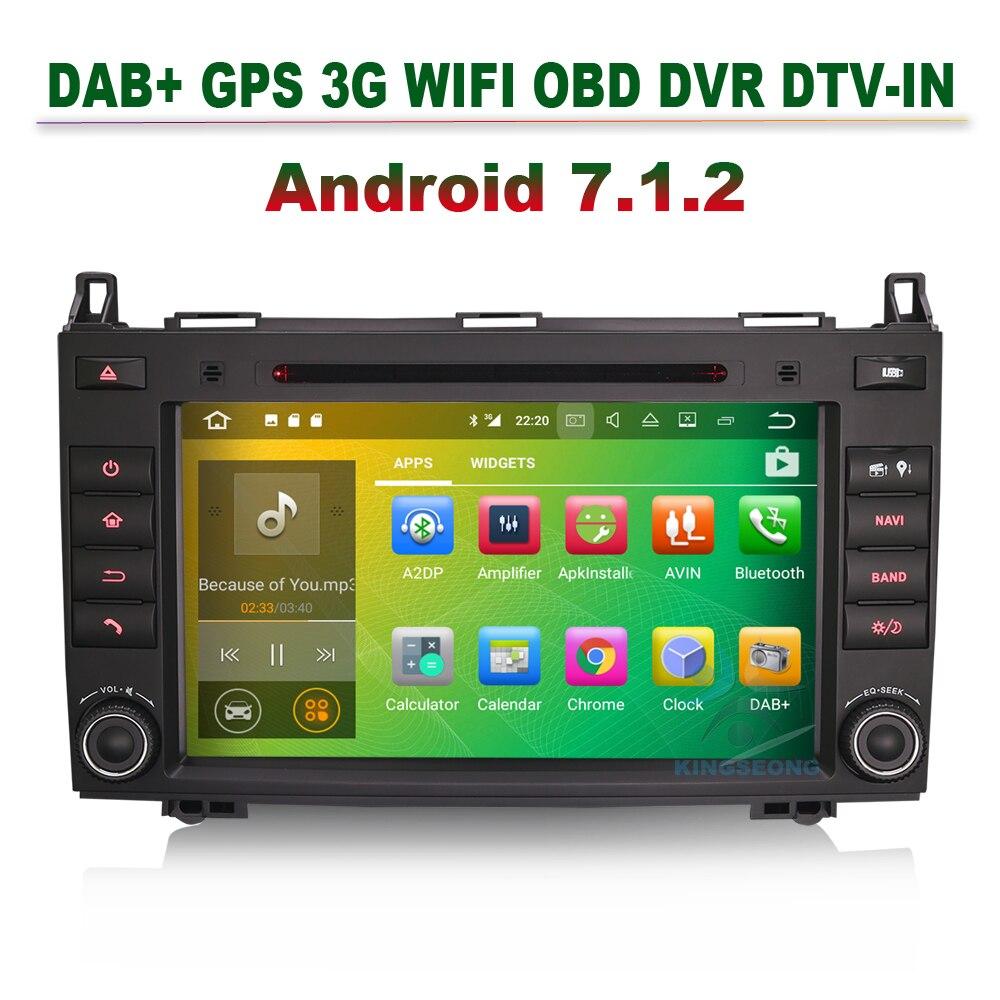 8 Android 7.1 car dvd Autoradio GPS DAB+DVR Navi for Mercedes A Class W169 B Class W245 Sprinter Vito Viano bluetooth 3g wifi