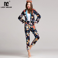 New Arrival Women S Notched Collar Long Sleeves Printed Blazers With Ankle Length Floral Pants Fashion