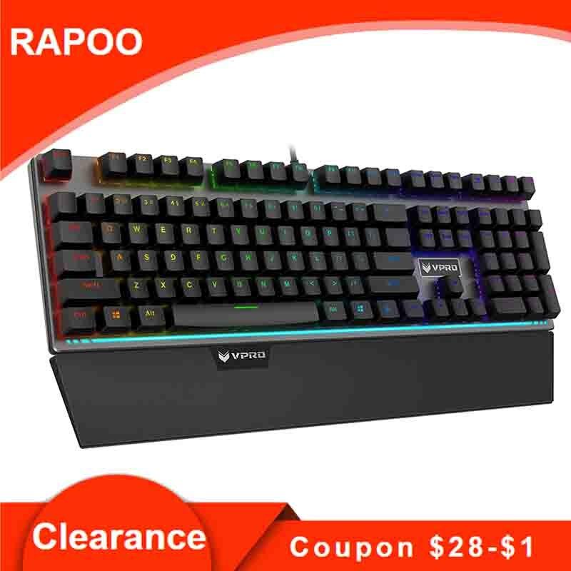 Rapoo V720S Mechanical Keyboard Gaming Keyboards Black Switches USB Wired Keyboard RGB LED Backlit for cs