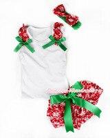 xmas bianco bambino pettitop & red snowflakes increspature & kelly green fiocchi rossi fiocchi di neve bloomers della fascia fiocchi di neve arco MALD227