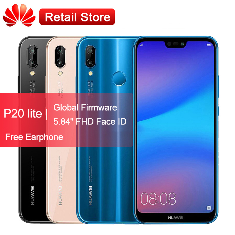 Huawei P20 Lite Nova 3e Phone 5.84'' Global ROM Android 8.0 4G LTE Face ID Front 24.0MP Dual Rear Cameras Smartphone 4GB 64 GB