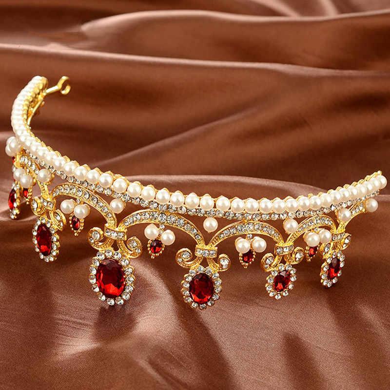 Élégant haute qualité Europe Style rouge opale femmes couronne chapeaux luxueux mariage mariée mariage accessoires nouvelle vente MY145
