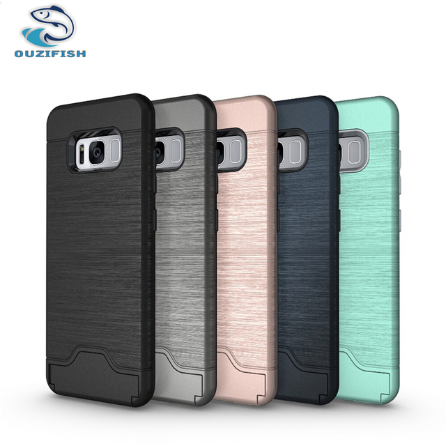 (OUZIFISH) For Samsung Galaxy S8 Case Cover 5.8 inch Phone Case For Samsung Galaxy S8 G950 SM-G950F Back Cover card slot stand
