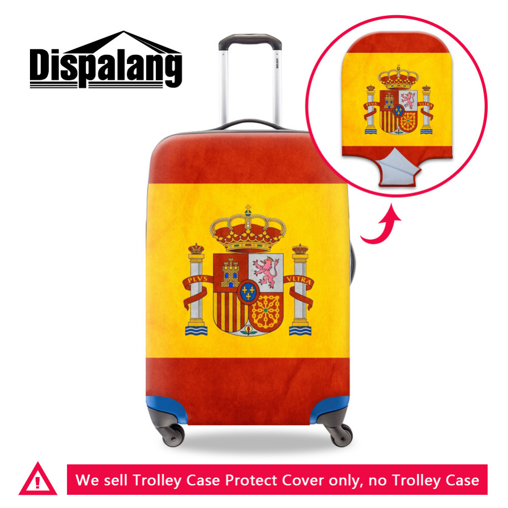 18-30Inch Luggage Protector Spain Country Flag Waterproof Dustproof Elastic Suitcase Protective Cover Travel Luggage Accessories