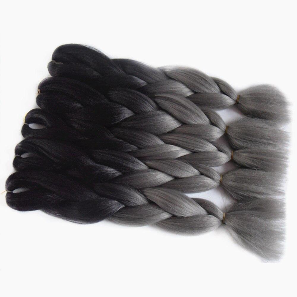 Cheap Sale Feilimei Blonde Gray Colored Crochet Hair Extension Kanekalon Hair Synthetic Crochet Braids Ombre Jumbo Braiding Hair Extensions Jumbo Braids Hair Extensions & Wigs
