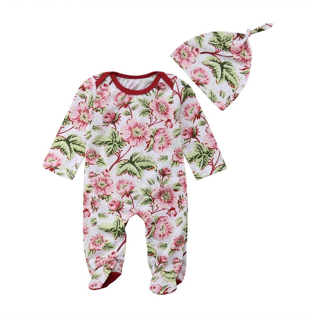 Newborn Baby Girls Footies Floral Long Sleeve Casual Jumpsuit Hat 2pcs Outfits Set Baby Clothing