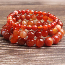 LingXiang 4/6/8/10/12mm Fashion natural Jewelry sardonyx loose beads bracelet be fit for men and women  Accessories and amulets