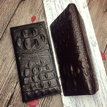 Vintage Genuine Cowhide Leather Men Long Wallet Bifold Crocodile Alligator Pattern Female Wallets Bags ID Card Holder Purses