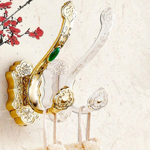 Multiple Choices Luxury Robe Hooks Wall Mounted Brass Coat Hook For Bathroom/Kitchen With 22 Colors Jade Cloth  A08-621