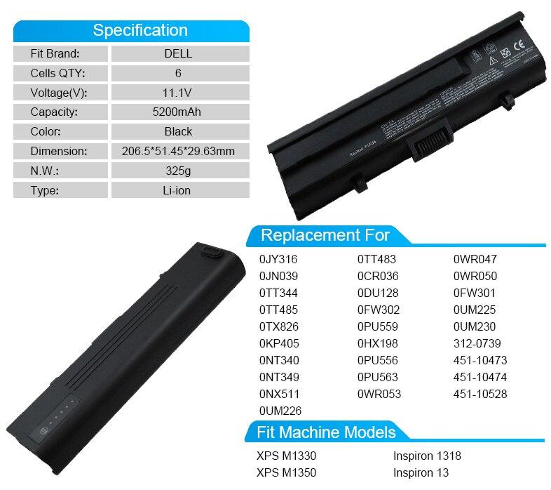 5200 мАч Аккумулятор для ноутбука Dell XPS M1350 M1330 0cr036 0wr053 0du128 0fw302 0hx198 0jy316 0kp405 0nt349 0nt340 312-0739