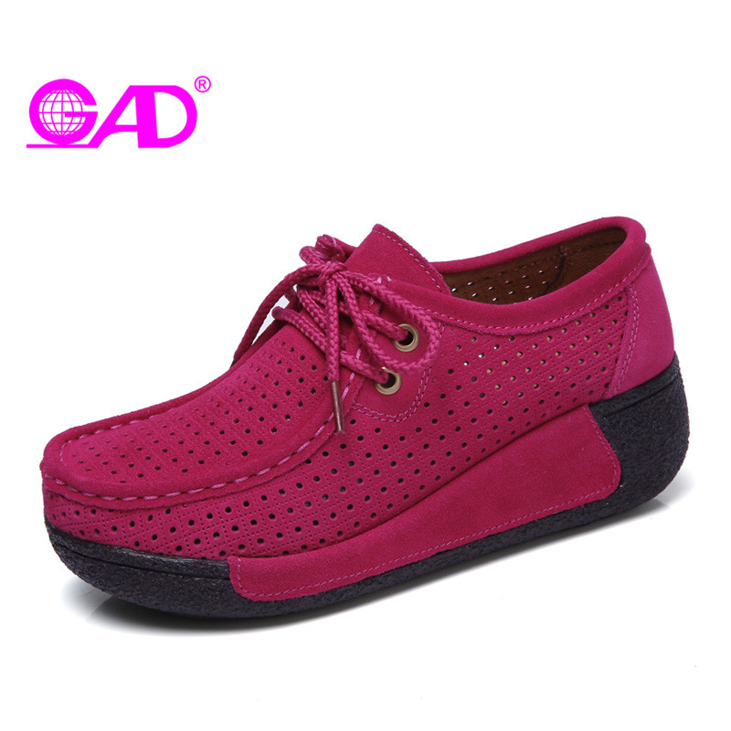 GAD Flat Platform Shoes for Women Summer New Hollow Breathable Fashion Casual Women Swing Shoes Flats Women Shoes tesilixiezi new spring summer fashion candy color bling flats platform shoes wegde breathable women casual shoes footwear
