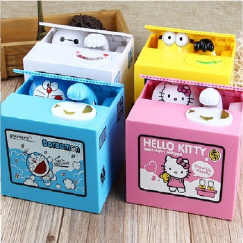 цена на Automatic Money Box Doraemon steal Saving Coins Bank Creative Piggy Box Friend Kids Birthday Gift Desktop Decoration