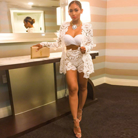 Summer Style Sexy Women Mini Dresses White Lace Dresses Long Sleeve V neck Two Pieces Hollow Out Embroidery Bodycon Dress