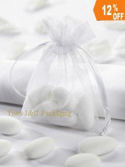 Free Shipping 100pcs 9x7cm White Organza Bag Christams Wedding Gift Bags