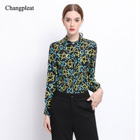 2017 Spring Silk Printed Women S Blouses High Quality Runway Designer Hit Color Long Sleeve Lapel