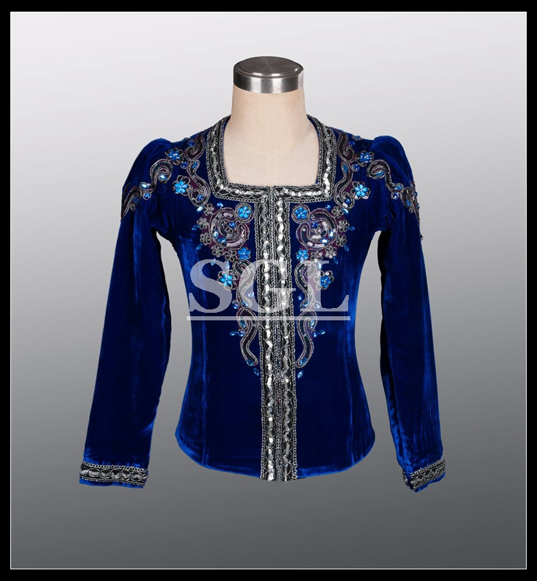 Free Shipping Professional Blue Color Male Tunic Man Ballet Top Dance Wear For Ballet Show Man