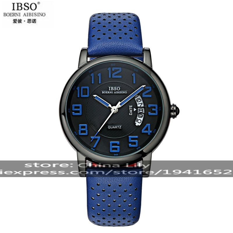 2015 Selling Brand IBSO BOERNI AIBISINO Unisex Ultra Thin Round Dial Analog Wrist Watch with Waterproof & Leather Band 3860 natate ibso women quartz watch crystal decorated large round dial analog wrist watch with waterproof woman leather band s3819