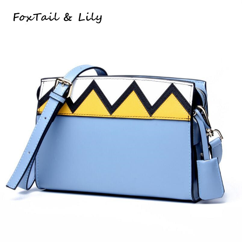 FoxTail & Lily Wavy Pattern Contrast Color Design Genuine Leather Crossbody Bags Women Small Shoulder Messenger Bag Luxury Brand active contrast color letter pattern jackets in dark blue
