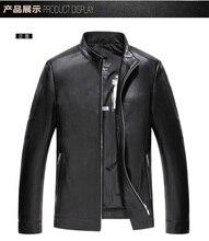 2016 Men's Leather Jacket Lambswool Genuine Leather Jacket Men Thick Raccoon Fur Collar Jaqueta Couro Masculino Plus Size EDA119