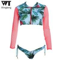 2018 Long sleeve Brazilian Bikini Zipper Swimwear female push up thong Bikini Set Micro bathing suit Flamingos Swimsuit biquinis