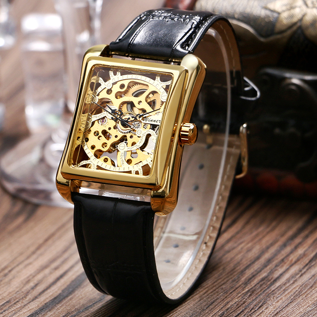 WINNER Brand Men's Skeleton Mechanical Watch Wristwatch Man watches Leather Relogio Masculino Luxury Fashion Casual Wrist Watch