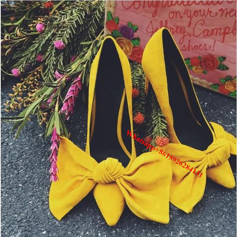 ФОТО Black/Pink/Yellow Grandame Big Bowtie Bride Pumps Elegant Suede Pointed Toe Women Slip On Stiletto High Heels Shoes Size 42