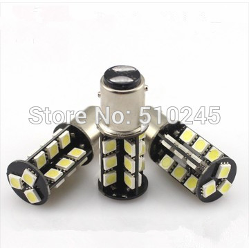 30x wholesale cheap 1157 BAY15D 27 SMD Red CANBUS OBC No Error Signal P21/5W Car 27 LED Light Bulb free shipping