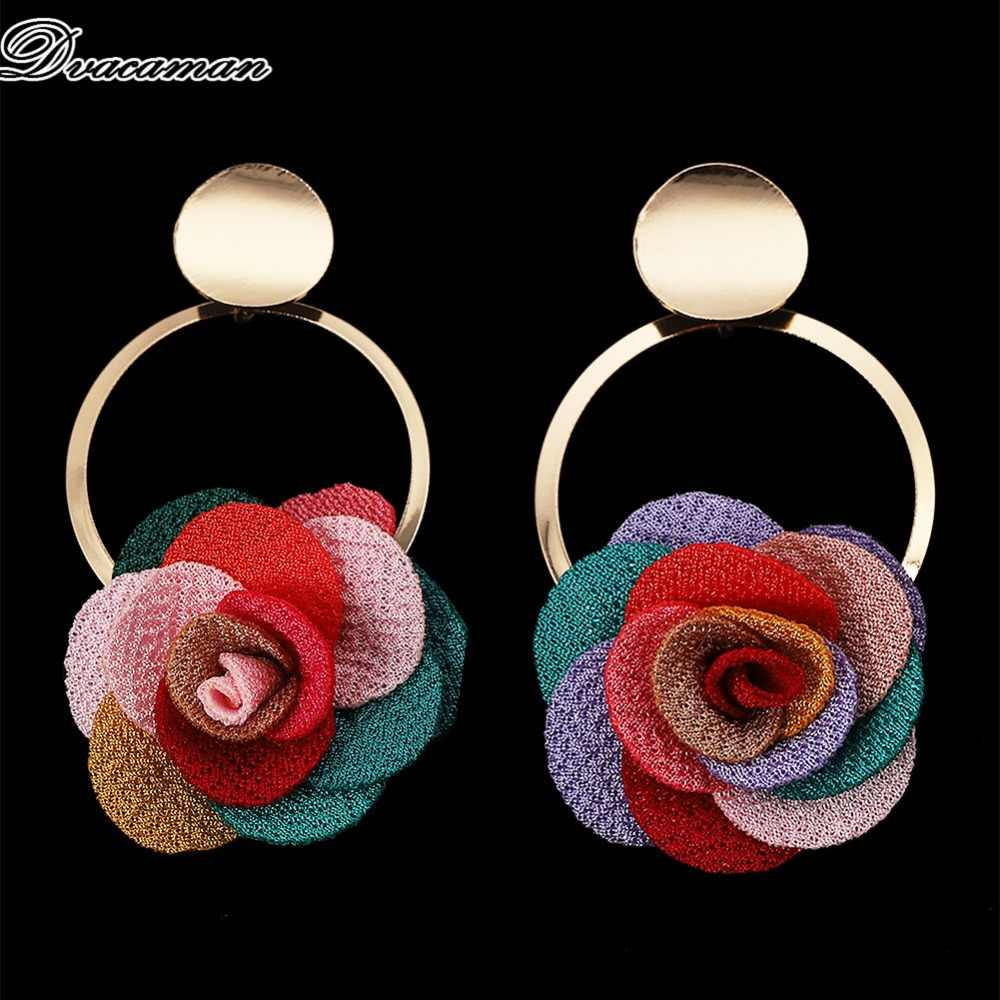 Dvacaman Colorful Rose Flower Drop Earrings for Women 2019 Trendy Metal Statement Earrings Dangle Wedding Party Jewelry Bijoux