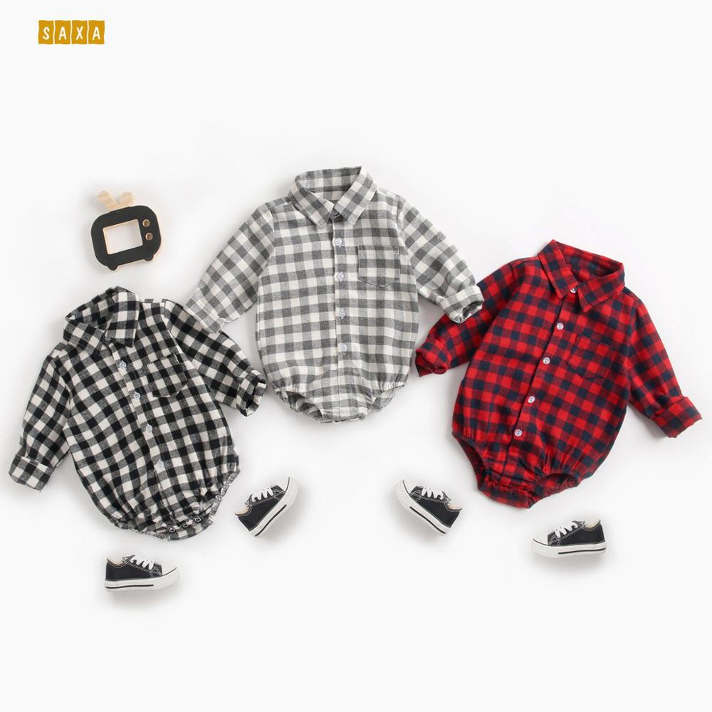 Baby Bodysuit Baby Clothes Autumn And Winter Plaid 100% Cotton Male Baby Long-sleeved Shirt Jumpsuit Baby Romper Newborn Onesies