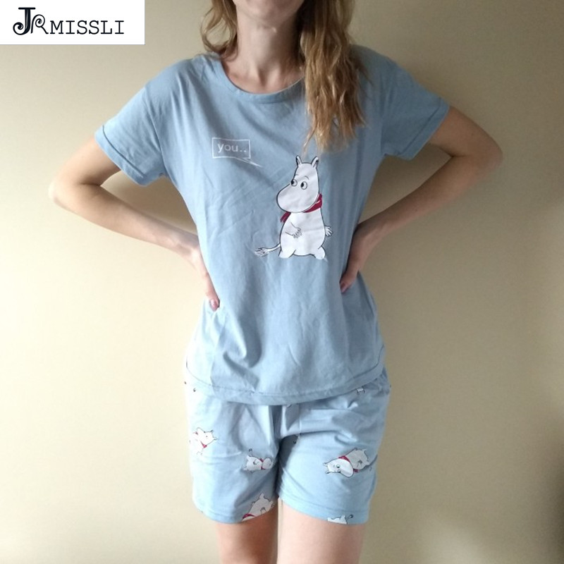 JRMISSLI Loose Pajama Sets Women Cute Print 2 Pieces Set Cotton T shirt Top + Shorts Elastic Waist Plus Size BS2043