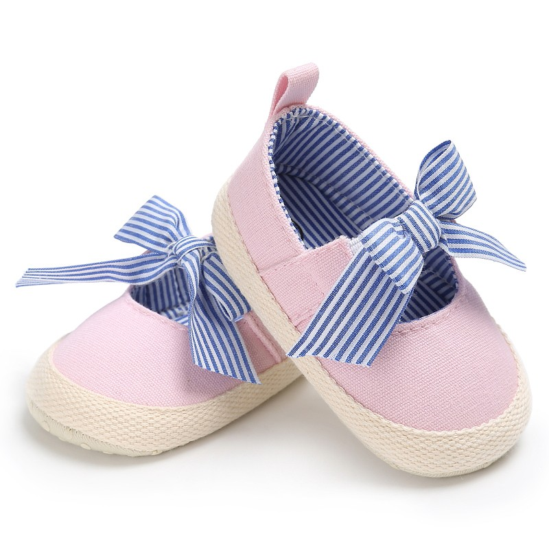 Baby Girls Shoes Striped Big Bow Baby Shoes Infant Toddler Crib Kids First Walkers Mary Jane Soft Soled Anti-Slip