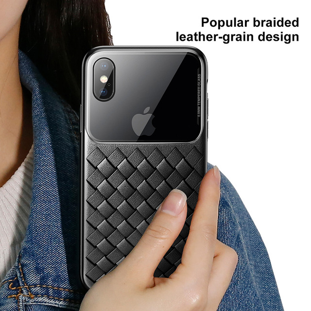 Basues iPhone X XS XR XS Max Weave Design Tempered Glass Back Case Cover