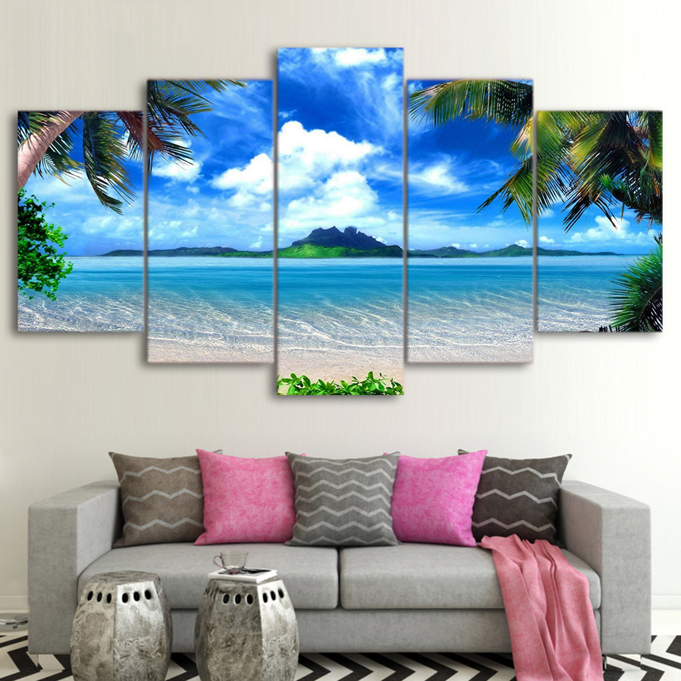Frame Decor Room Wall Art 5 Pieces Palm Trees Blue Sky White Cloud Sea Scene Paintings Posters Modular Pictures Canvas HD Prints no frame canvas