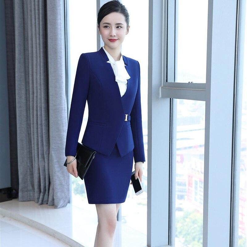 Униформа стили костюмы с юбкой для женщин бизнес с Блейзер и юбка Professional повседневная обувь элегантный синий плюс размеры