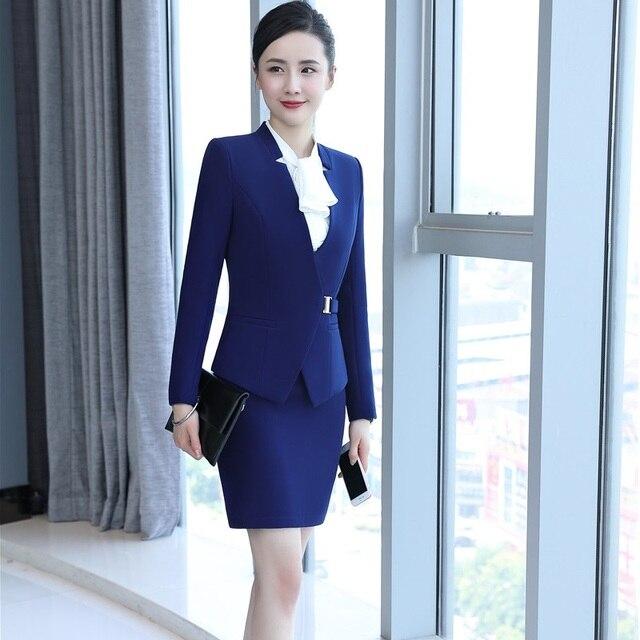 c98d889538f2 Formelle Uniforme Styles Jupe Costumes pour les Femmes D affaires de  Costumes Avec Blazer et