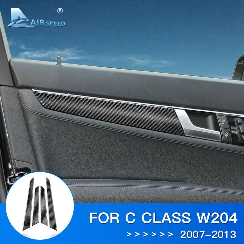 Airspeed 4pc Car Door Panel Sticker for W204 Mercedes Benz Sticker Carbon Fiber Interior Trim for