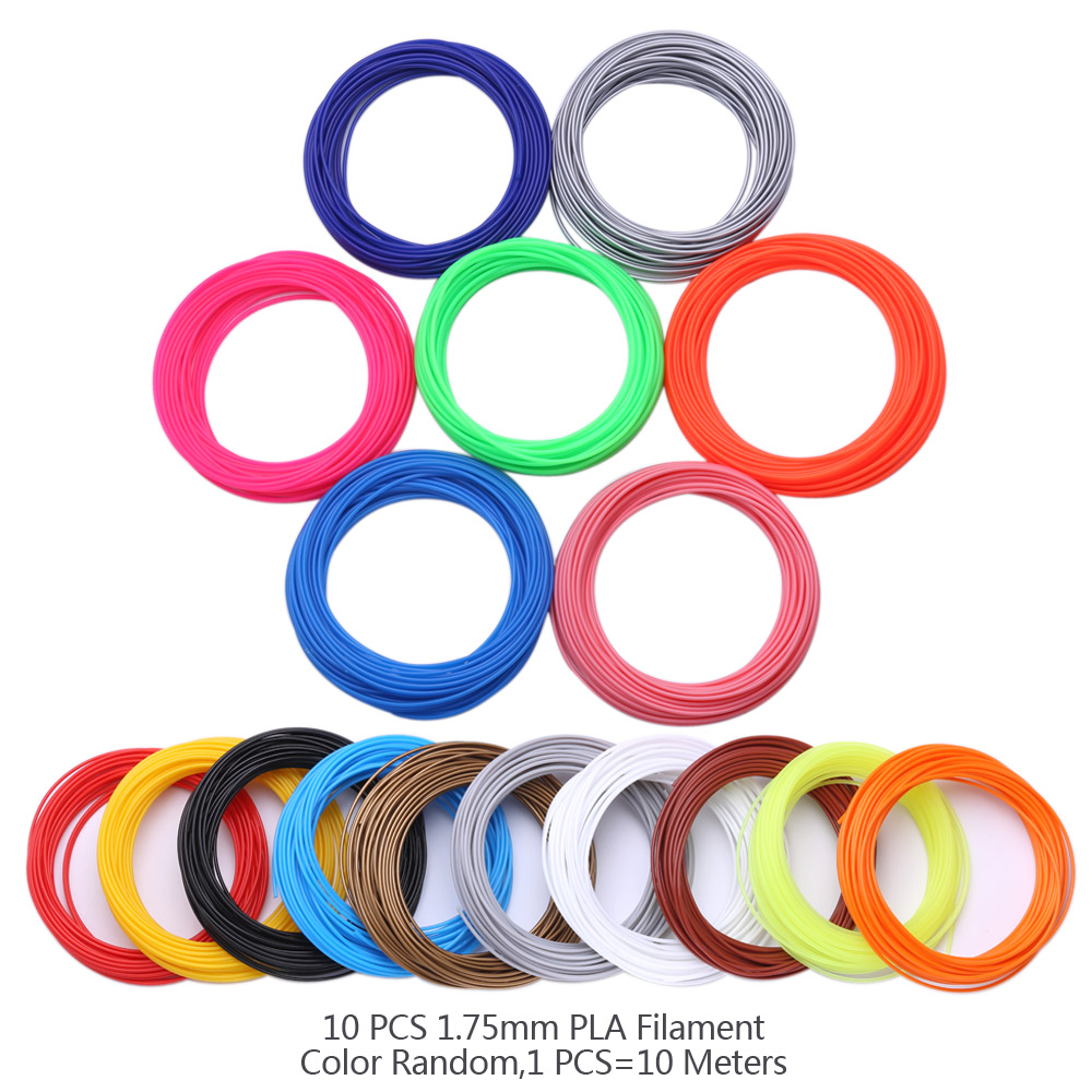 100 Meters 10 Colors 1 75MM PLA Filament For 3D Printing Pen Threads Plastic 3 D