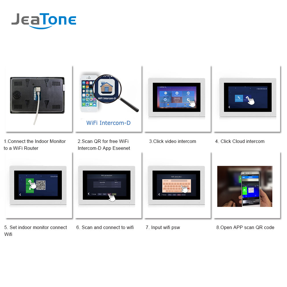 Image 5 - 7 Touch Screen WIFI IP Video Door Phone Intercom +Switch 4 Floors Building Access Control System Support Password/IC CardVideo Intercom   -