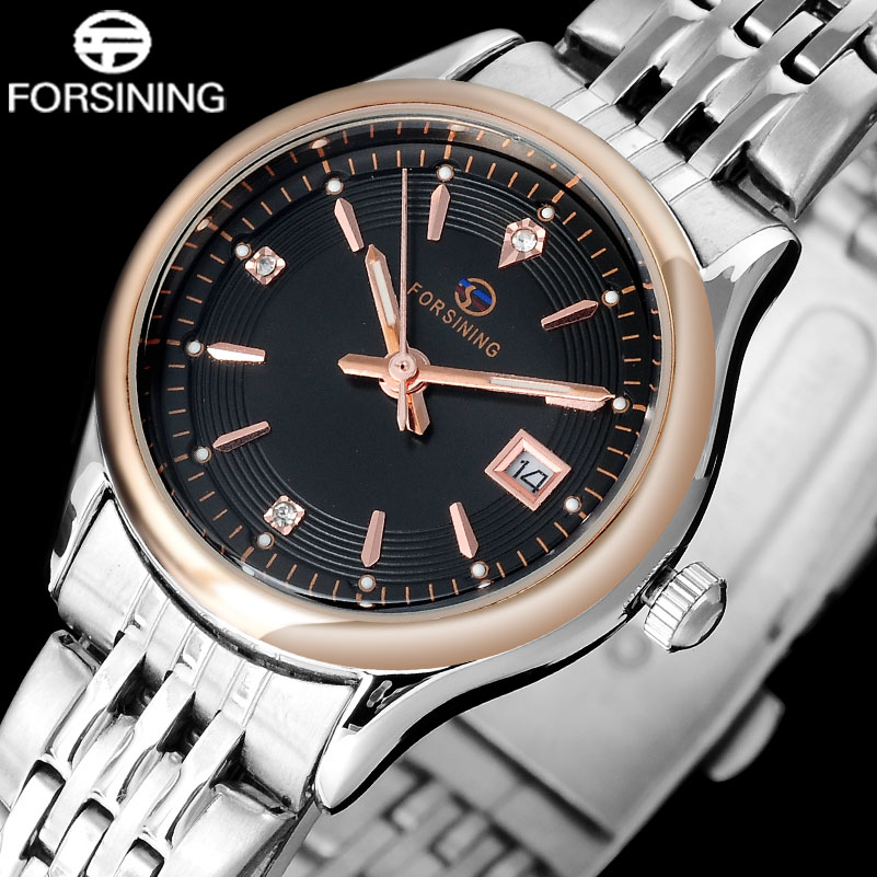 FORSINING brand fashion women quartz watches stainless steel bracelet band business ladies auto date watches relogio