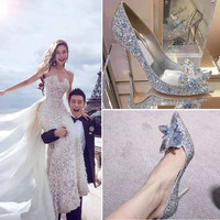 Cinderella color diamond crystal shoes wedding shoes female 2018 new rhinestone wedding photo pointed high heels bride wedding s