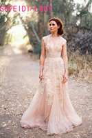 Vestidos De Novia Deep V Cap Sleeves Pink Wedding Dresses UK Lace Applique Tulle Sheer Cheap