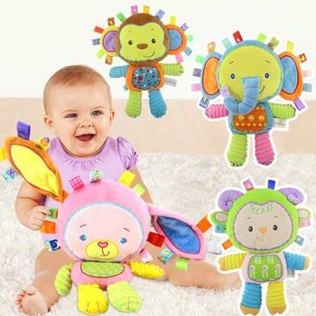 Feliz Macaco Crianças Bonitos Do Bebê Chocalho de Pelúcia Bicho de pelúcia Infantil Educacionais Aprendizagem Brinquedos Presente para As Crianças Da Criança 0-12 mês