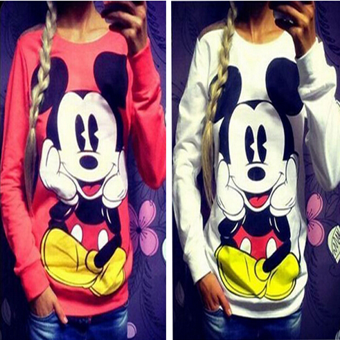 Ženska odeća ... Duksevi ... 32794724519 ... 2 ... 2016 Fashion New European Mickey printing Sweatshirt Hoodies Long Sleeve  loose women Crewneck  size S-XL Hot sale 2016 ...