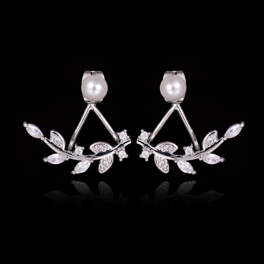 2017 Temperament Female Jewelry Double Side Pearl Aaa Cubic Zircon Leaf Ear  Jackets Clear Crystal Stud Earring Boucle D'oreille